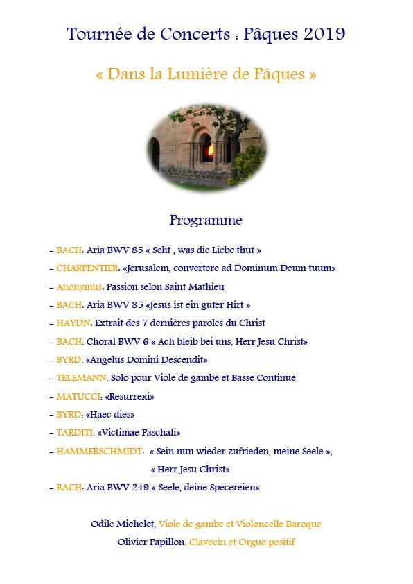 Tournée de Concerts Pâques 2019 Programme